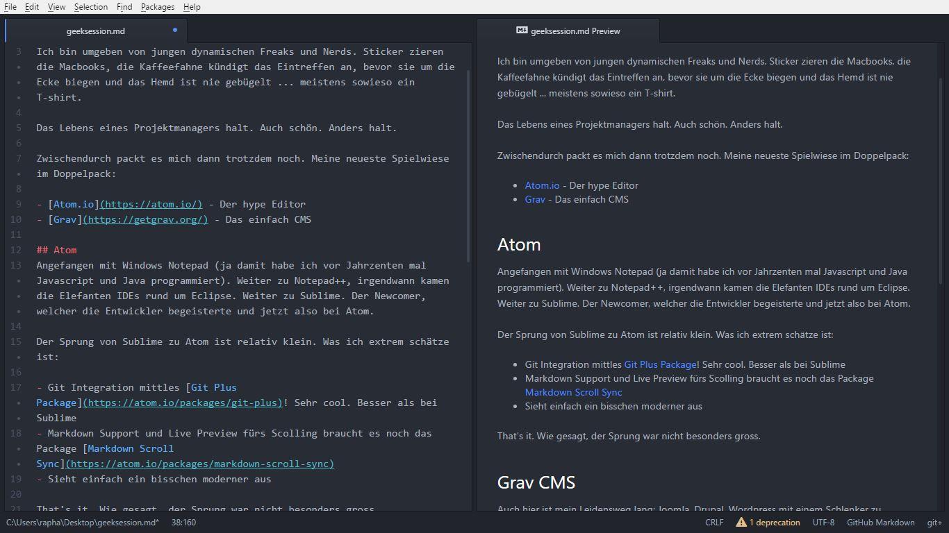 """Screenshot von Atom Editor"" ""Atom Editor"""
