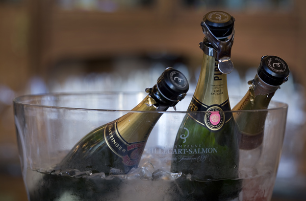Champagne bottles in a bucket