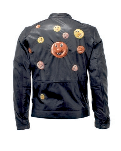 Among Warhol's circle of young artist friends was Kenny Scharf, a 'new- kind' of pop- artist according to his peers. His jacket for the exhibition is decorated in what appears to be mad molecules.
