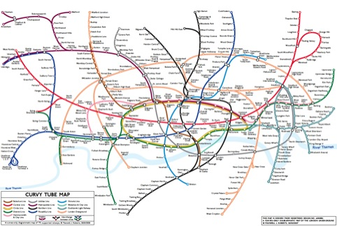 A tube map with curved lines by Dr Roberts