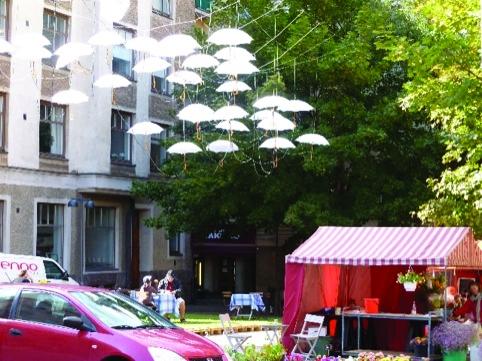 An outdoor café in the Design District Helsinki