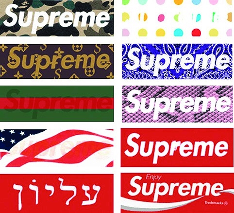 Variations on the Supreme logo