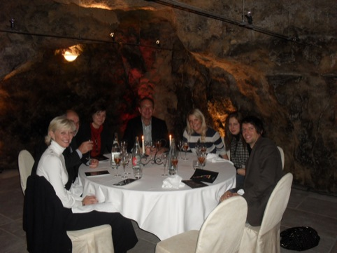 Arjowiggins and press at the Champagne Caves in Chateau Thierry