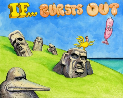 The cover of Steve Bell's new book If... Bursts Out