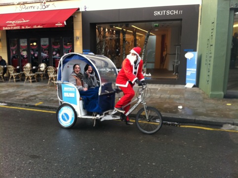 The first ride of the day on the Skitsch-mobile