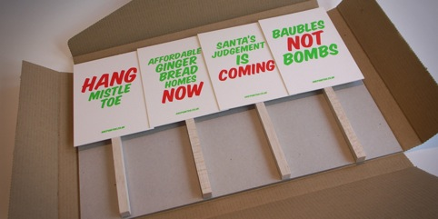 The placards came as a set of four