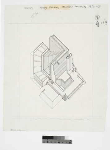History Faculty Building, University of Cambridge, England (1963–67): axonometric Ink on paper AP140.S2.SS1.D26.P3.1 James Stirling / Michael Wilford fonds, Canadian Centre for Architecture, Montréal © CCA