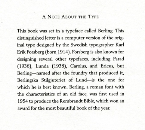 A history of the Berling typeface in Anne Tyler's novel Noah's Compass.