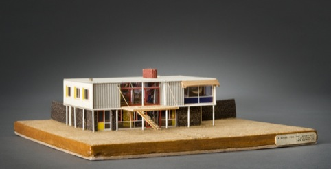 House for the Architect: model, probably late autumn 1948 Paper, burlap, cork, plastic, metal, thread, black ink, gouache, fibreboard James Stirling/Michael Wilford fonds, Collection Centre Canadien d'Architecture/Canadian Centre for Architecture, Montréa