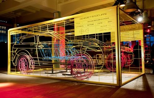 The wire frame Range Rover Evoque by Benedict Radcliffe's