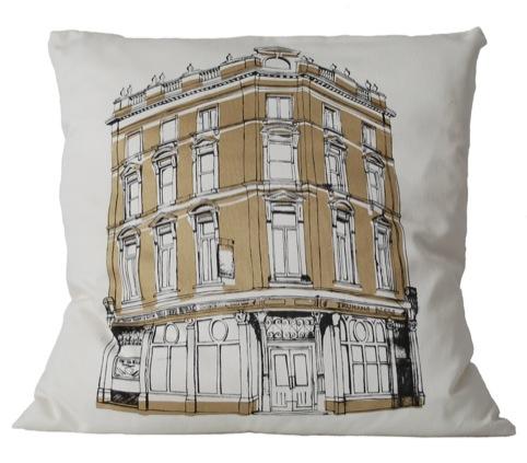 Ten Bells East End pub crawl cushion by Wingate