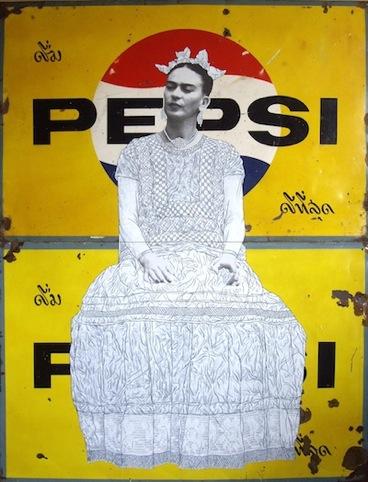 Frida on Yellow Pepsi
