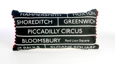 Michelle Mason London Bus Blind cushions