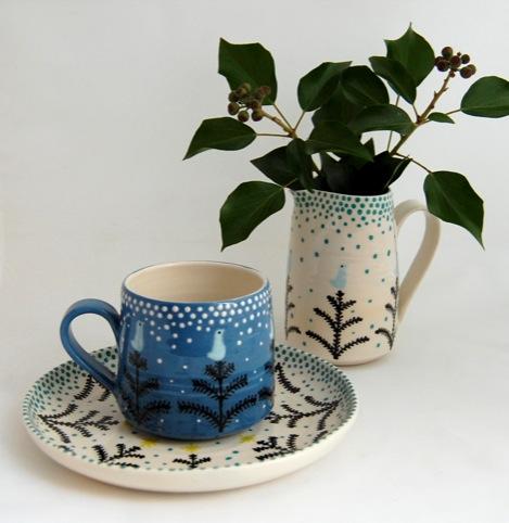Katrin Moye - winter cup, saucer and jug