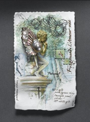 Kevin Coates, Mounted pinbrooch, Fragonards L'Amour vole