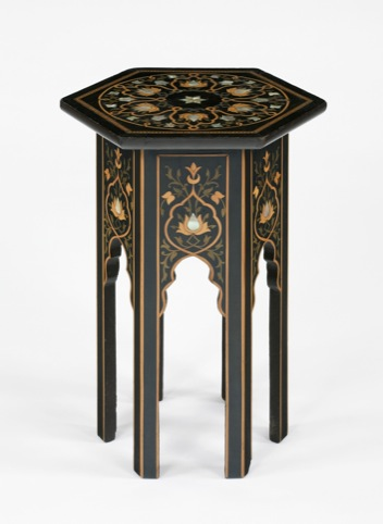Ebonised wood occasional table with a hexagonal top and inlaid decoration of mother of pearl made in England c1890