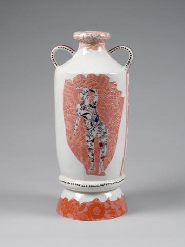 Filigree colour slips and enamel transfers onto earthenware. Charlotte Hodes, 2010
