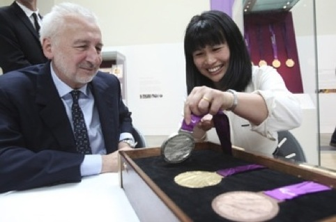 John Sorrell and Lin Cheung with the Paralympic medals