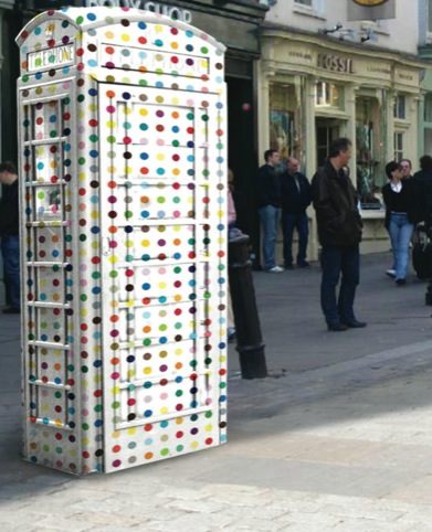 mock-up Hirst-inspired spotty ArtBox by the SML production team