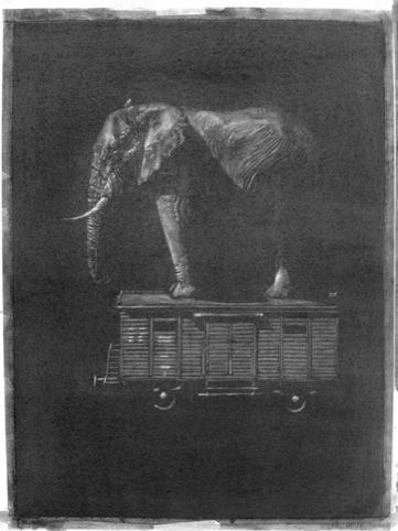 Un-Painting (elephant on train car), Marc Bowditch