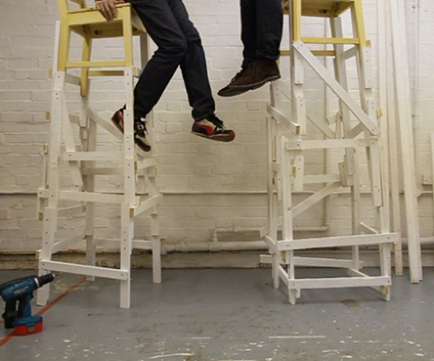 Simon Linington and William Mackrell, Untitled, 2011, Two Wooden Chairs