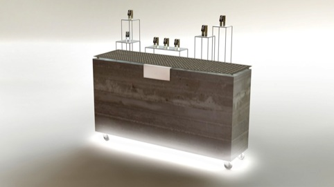 Concrete block for point of sale