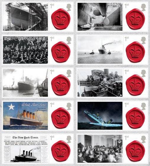 Team Publishing designed Titanic stamps