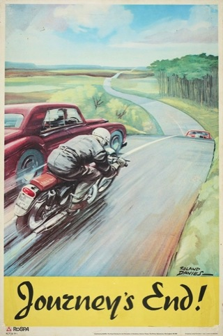 Journey's End poster published by RoSPA and printed by Loxley Brothers Sheffield - road safety by Roland Davies 1960s. The Royal Society for the Prevention of Accidents