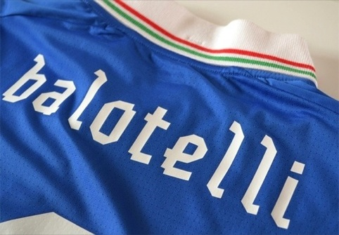 Italy shirt featuring GBH designed 'Gaffer' font