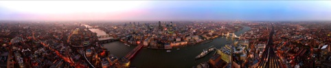 View from 300m above London at dusk