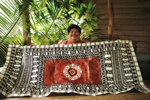 Makereta Matmosi with her Fiji Airways Masi design