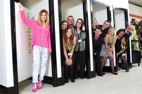 Girls Aloud star Nicola Roberts and Barnado's staff at the store opening