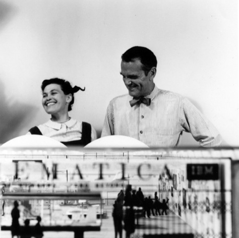 Ray and Charles Eames with a model of the exhibition Mathematica