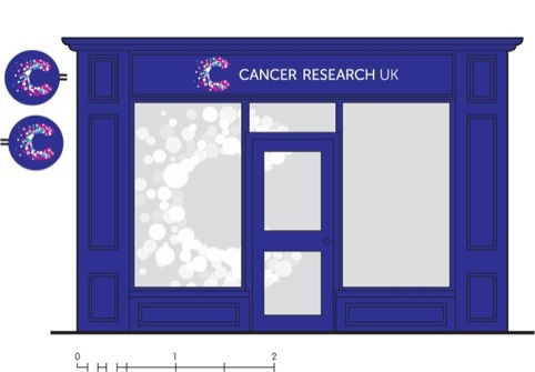 Shop fascias will use a watermarked version of the identity on windows