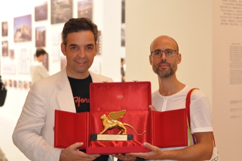 Hubert Klumpner from Urban Think Tank and Justin McGuirk with their Golden Lion