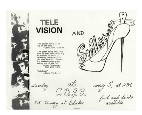 Television at CBGB with proto-Blondie group The Stillettoes opening, May 5, 1974