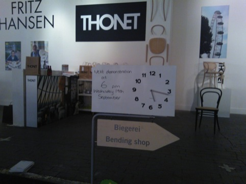 Bentwood chair demonstrations at the Thonet installation