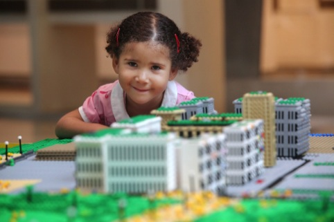 Local children helping to build East Village and Queen Elizabeth Park in Lego