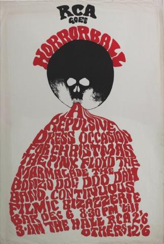 Horrorball poster, Royal College of Art Christmas Poster 1967, by Trevor Hodgson