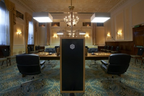 The double chess station, designed by Daniel Weil