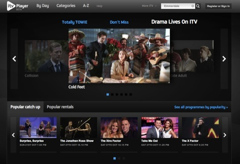 New ITV Player home page