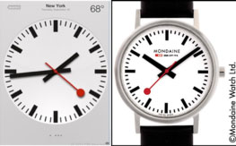Left: Apple's use of the design in its IOS 6.0 operating system. Right: The Mondaine clock-face