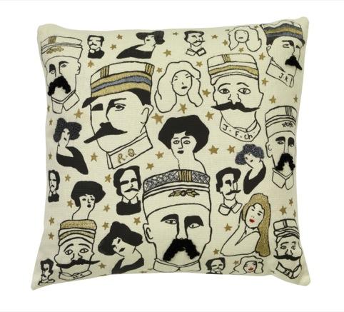 Cushion with moustachioed men design