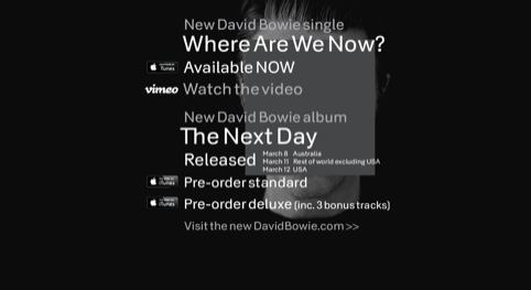The new David Bowie website