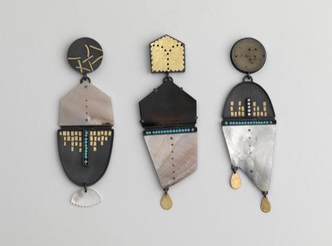 Thinking Earrings, set of three, Zoe Arnold, 2011