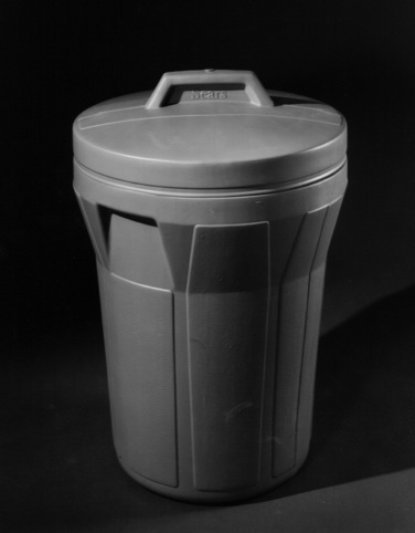 The plastic garbage can