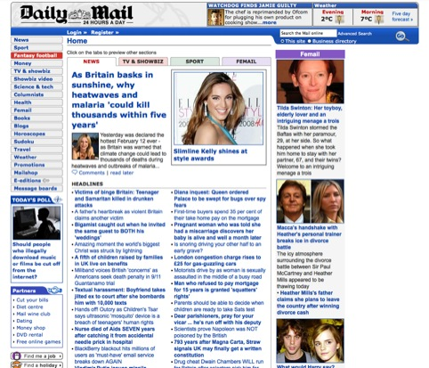 The Daily Mail website in 2007, prior to Brand42's redesign