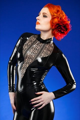 Laser-cut catsuit by Caroline Dacre of Cathouse Clothing