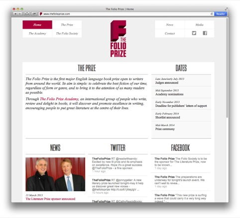 The Folio Prize website home page