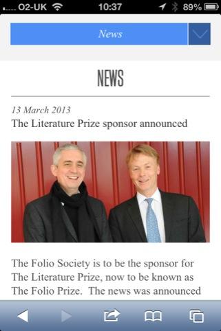 The Folio Prize mobile site news page